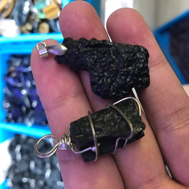 US $5 63 6% OFF|Black Tektite Stone Roguh Wire Wrapped Pendants fit Fashion  ore stone Pendant Jewelry Necklace Making natural stones and mineral-in