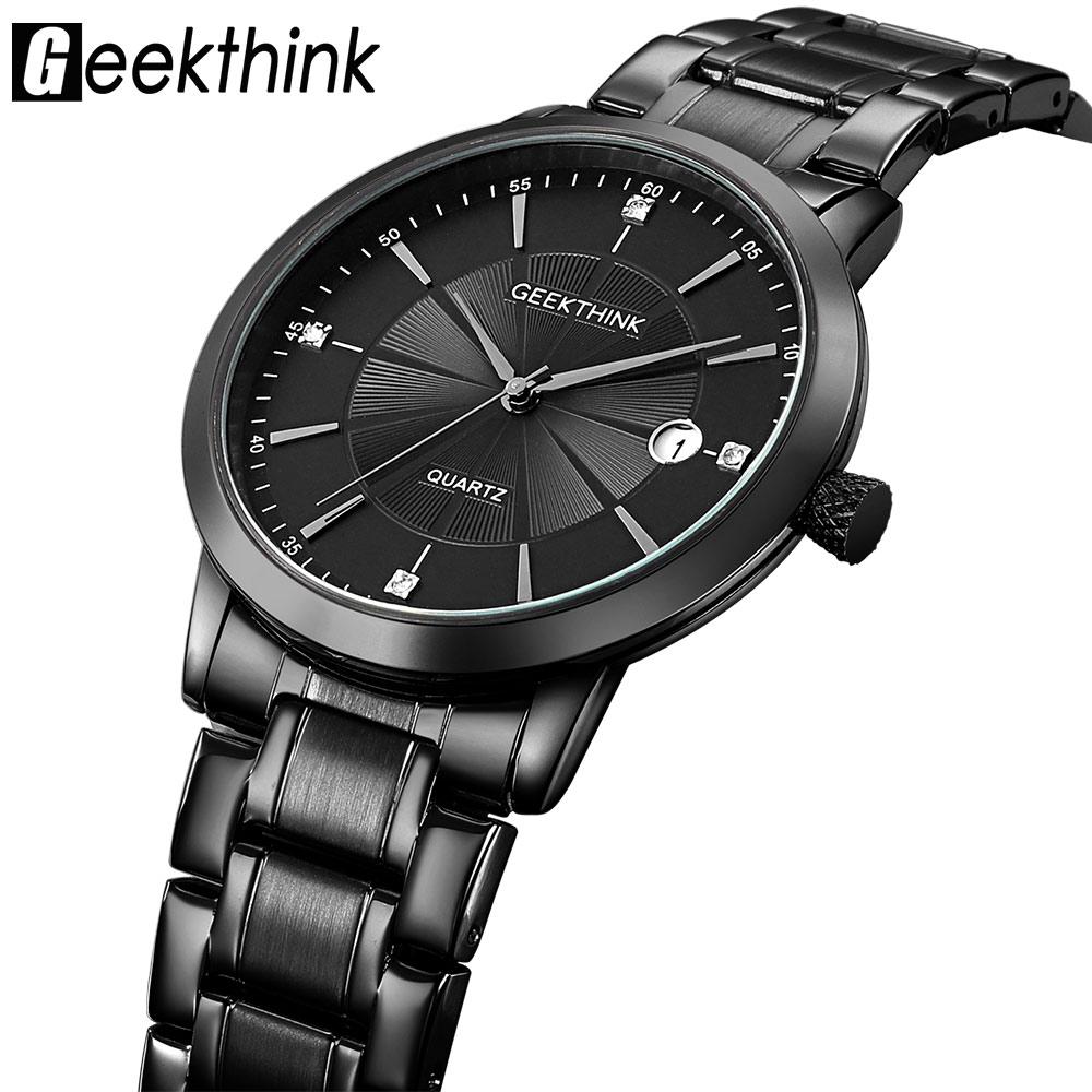GEEKTHINK Marca completa de acero inoxidable relojes de cuarzo hombres de negocios ultra delgado reloj impermeable Relogio Masculino