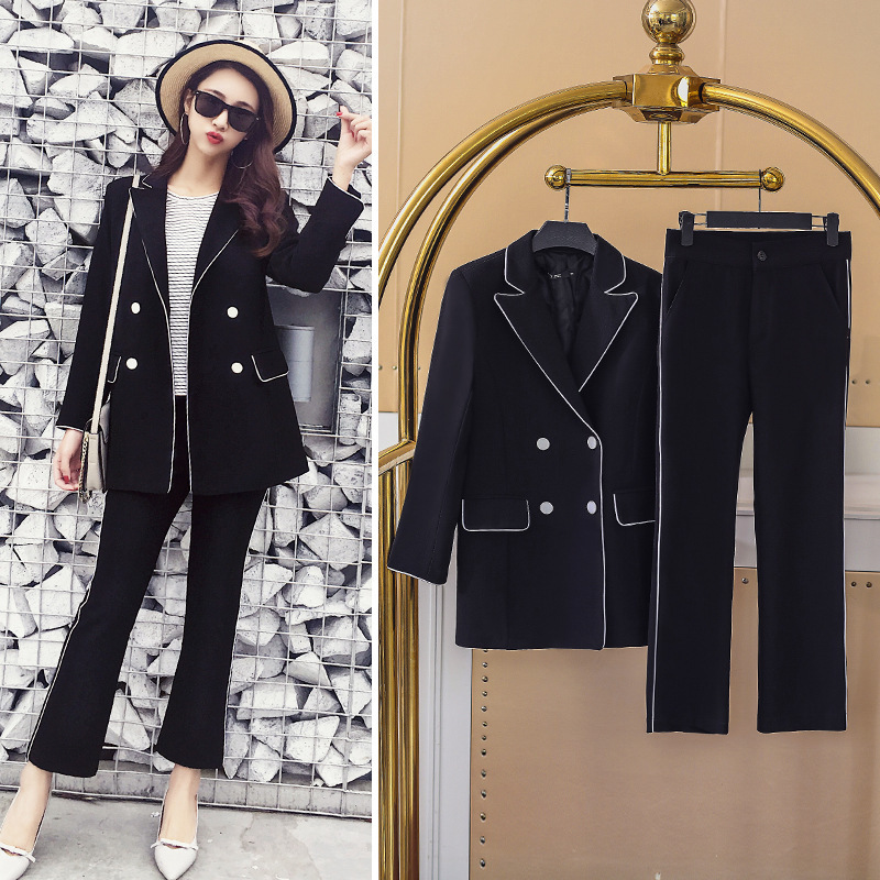 Work Office Pants and Jackets 2 Pieces Women Blazer Suit 2018 Spring Vintage White and Black Business Formal Suits For Women