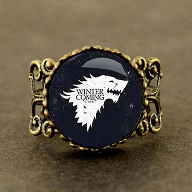 wolf chain US drama Game of Thrones Song of Ice and Fire Ring 1pcs/lot bronze or Steel Glass charm jewelry image
