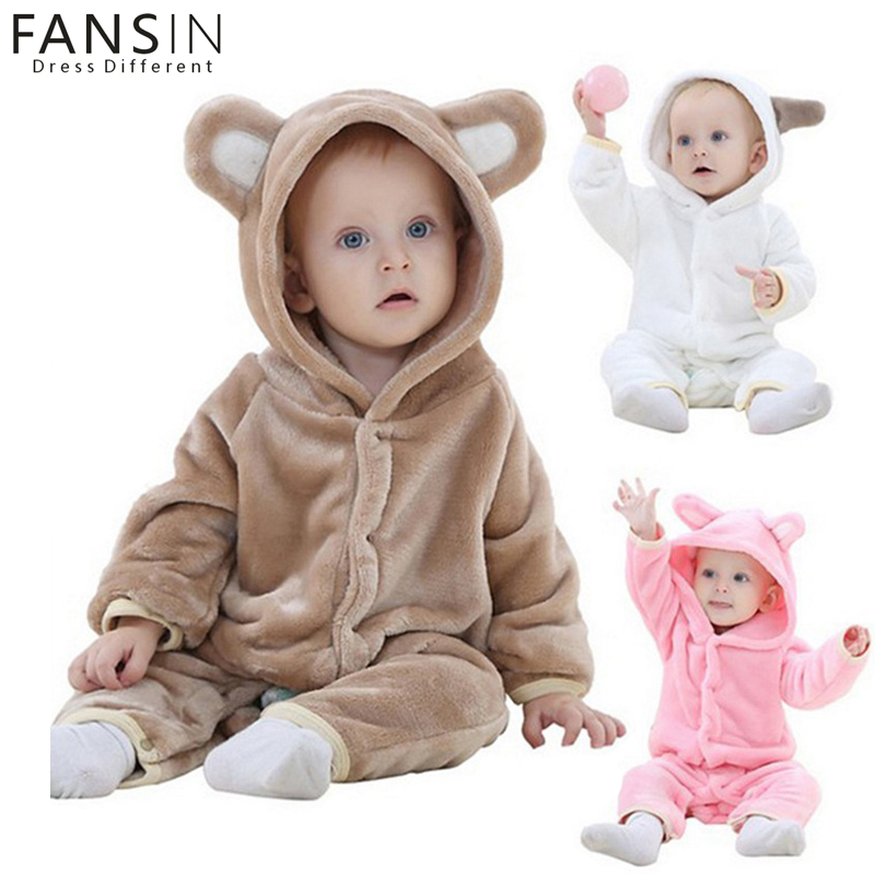 Fansin Brand Winter Animal Baby Warm Hooded Rompers Clothes Boy Girl Pajamas Newborn Costume Plush Jumpsuit Kids Outfits Romper