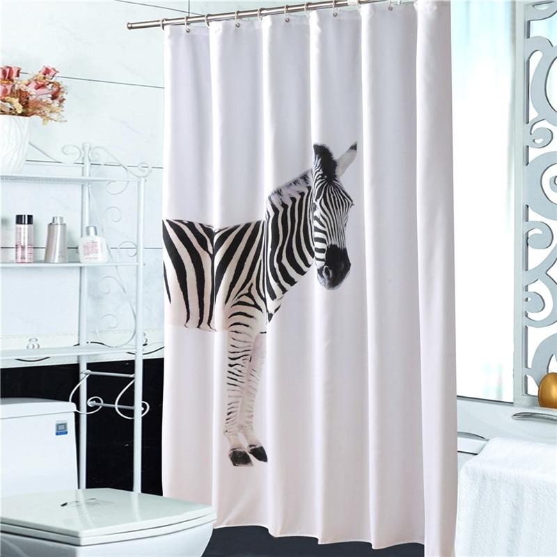Water Proof Easy Clean Shower Curtain 1.8*1.8m Zebra Top Grade Thickening Shower Curtain Bathroom Bath Curtains zwbra shower curtain