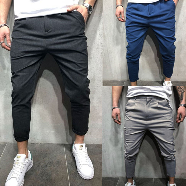 a78bfb3462a 2018 Autumn Winter New Casual Pants Men Cotton Slim Fit Chinos Fashion  Trousers Male Brand Clothing Solid Color Pants Plus Size