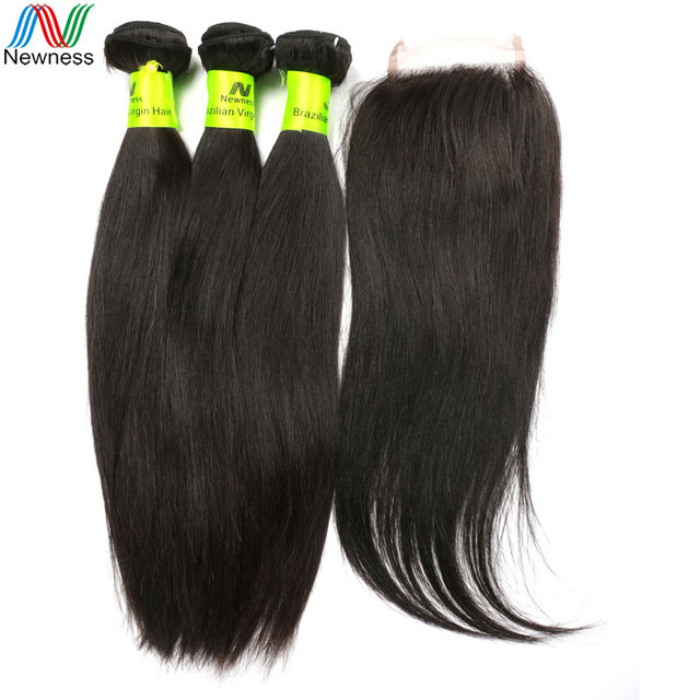 3 Bundles With Closure Straight, Newness Hair 7A Unprocessed Brazilian Virgin Hair Straight 3 Bundles With Lace Closure