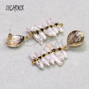 Image 2 - 3 Pairs Natuurlijke parels oorbellen Goud kleur plated parels sieraden parels oorbellen gift voor lady elegant earring voor lady9239