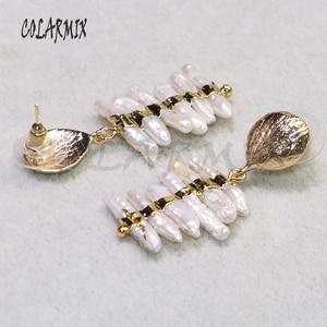 Image 2 - 3 أزواج من أقراط اللؤلؤ الطبيعي مطلية بالذهب مجوهرات اللؤلؤ أقراط هدية للسيدات أقراط أنيقة للسيدات lady9239