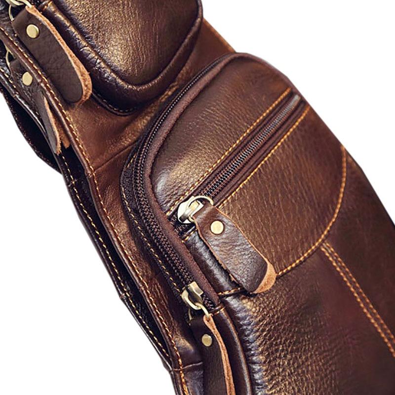 Högkvalitativa män Äkta läderkofta Vintage Sling Bröstback Dag - Handväskor - Foto 5