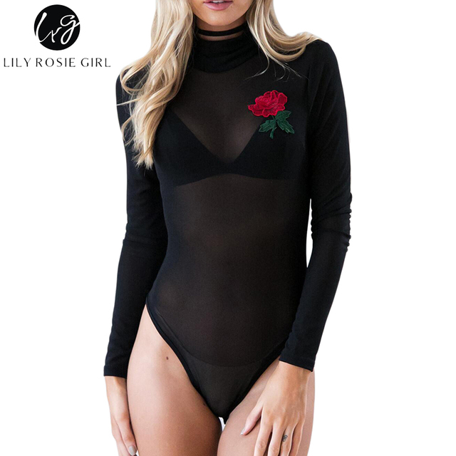 b5976b2146 Lily Rosie Girl Black Sexy Mesh Though Women Bodysuits Embroidery Long  Sleeve Turtleneck Leotard Summer Short Rompers Jumpsuit