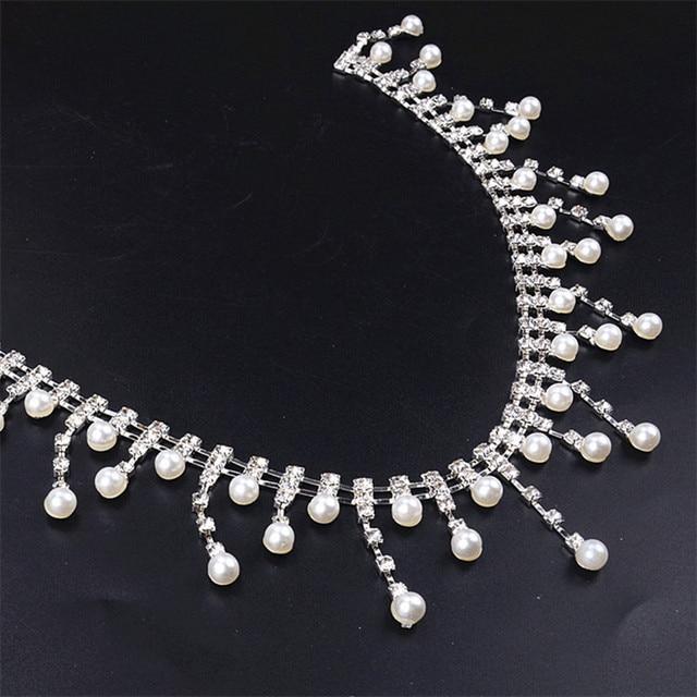 1Yard lot pearl and crystal rhinestone chain trim bridal dance costume  decor craft collar applique accessories bf42159d07d0