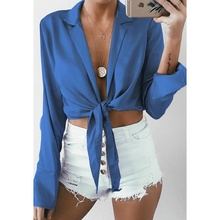 chic Women Sexy Blouse Backless Tie Knot Crop Top V-neck Long Sleeve Festivals Classics Party Shirts Ladies Hollow Out Slim Tops недорого