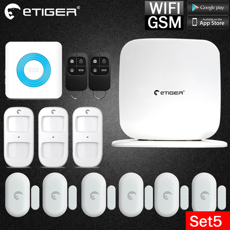 Etiger WiFi /GSM /GPRS eTiger WiFi Newest Intruder Burglar gsm sms alarm l  alarm system For Security passive intruder