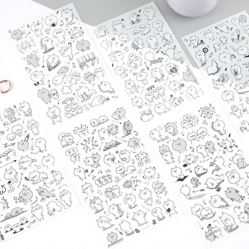 Cute Superman Rabbit Black White Diary Label Stickers Pack Decorative Mobile Stickers Scrapbooking DIY Sticker Escolar Papelaria