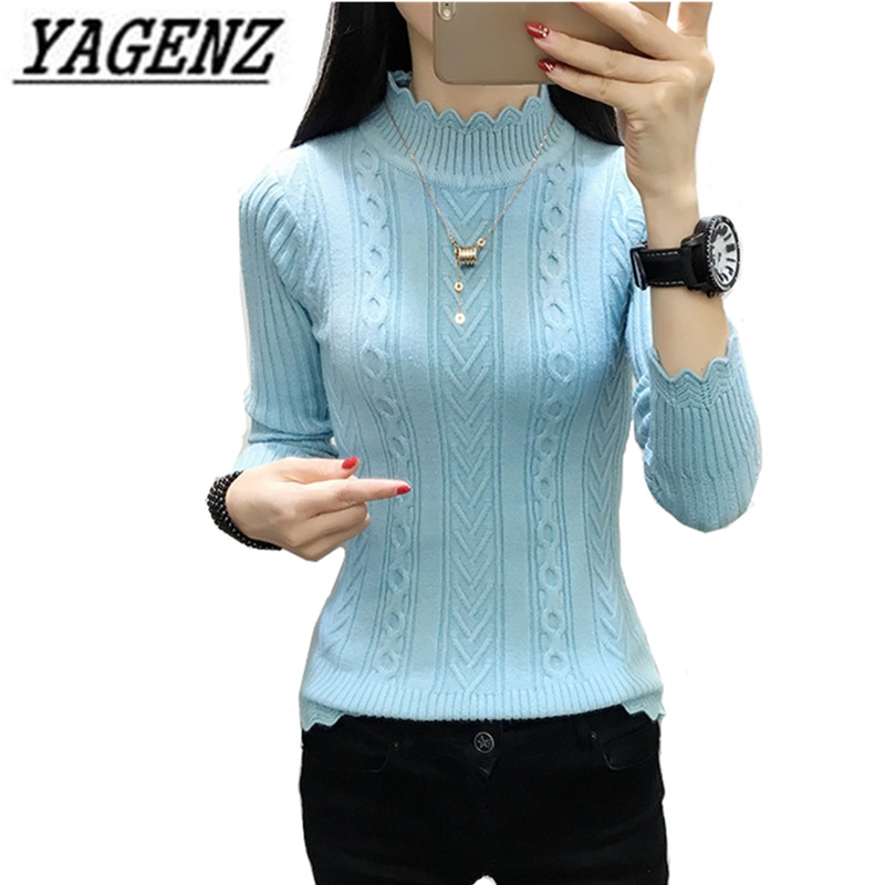 Knitted Sweaters Turtleneck Pullover Sexy Long-Sleeve Autumn Winter Woman Solid For Slim
