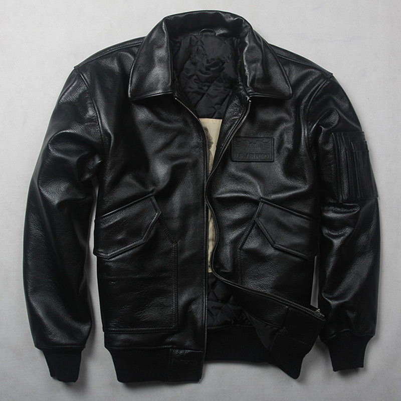 HARLEY DAMSON Black Men USAF Pilot Leather Jacket Europe Size XXL Winter Thick Real Cowhide Russian Military Leather Coat