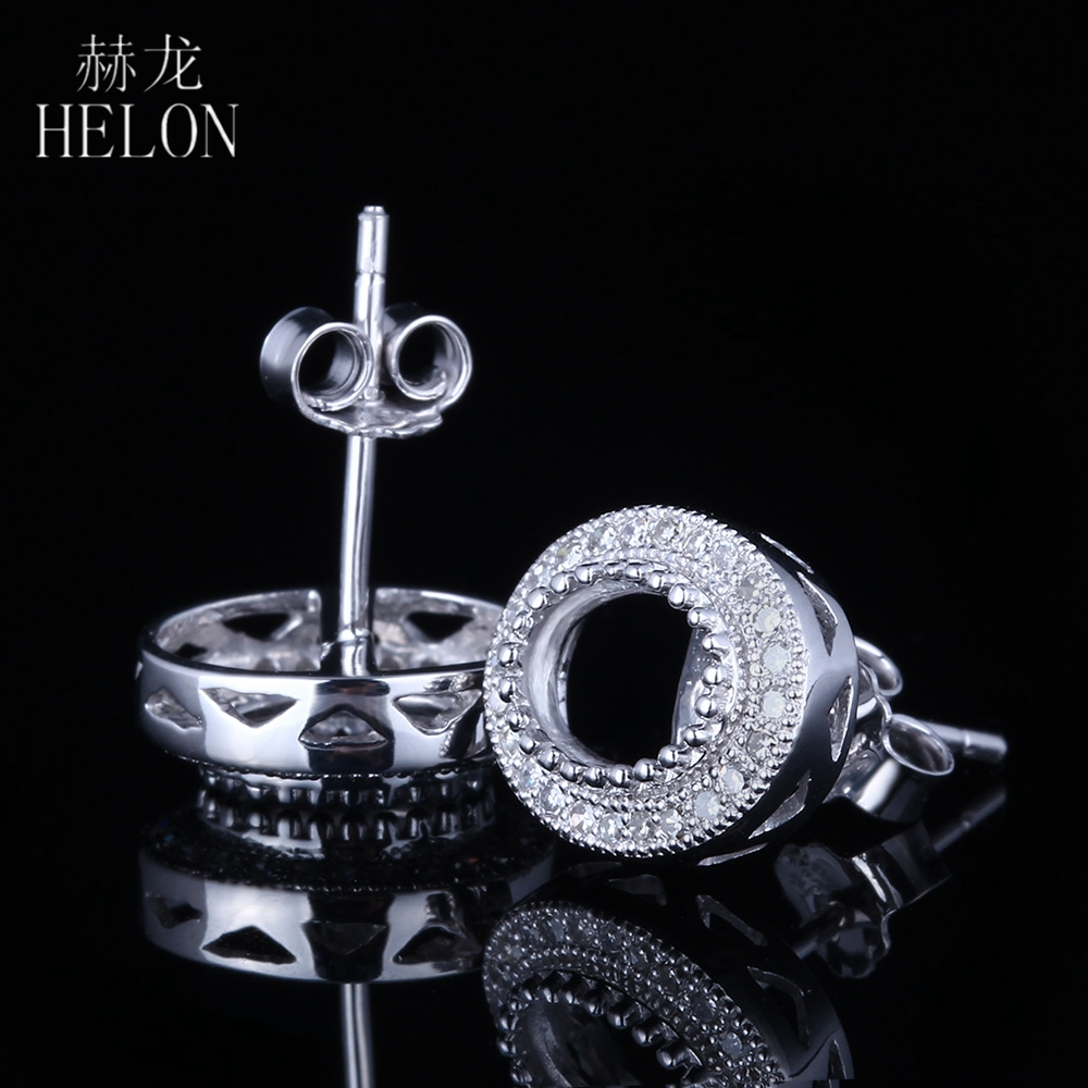 HELON 5x7mm Oval Cut Solid 14K White Gold Natural Diamonds Elegant  Engagement Wedding Semi Mount Stud Earrings Stylish Jewelry 3ec86a3721bef