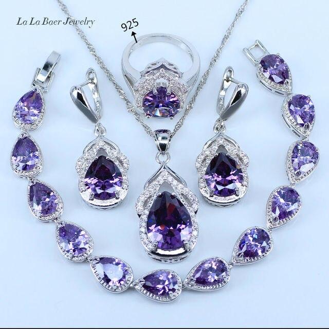 L & B הטוב ביותר ערכות תכשיטי זירקון גביש סגול לבנה 925 לוגו מתנת חתונת צבע כסף נשים צמיד/עגילים/שרשרת/טבעת