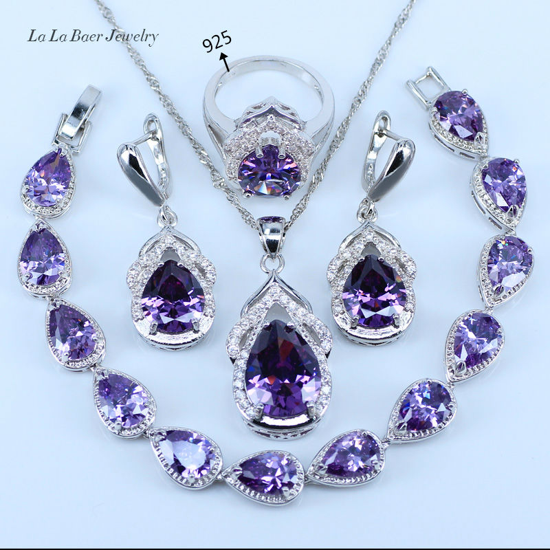L&B Best Wedding Present Purple Crystal White Zircon Jewelry Sets 925 logo Silver Color Women Bracelet/Earrings/Necklace/Ring