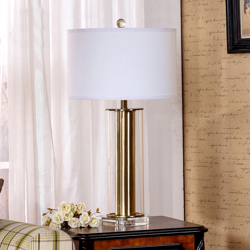 Classical Gold Glass Crystal Base Table Lamp Modern Hotel Lobby Room
