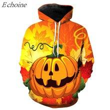 Echoine 2017 Halloween 3D Pumpkin Print Men's Sports Hoodies Comfortable Training Excercise Sweaters Athletic Sportswear M-6XL