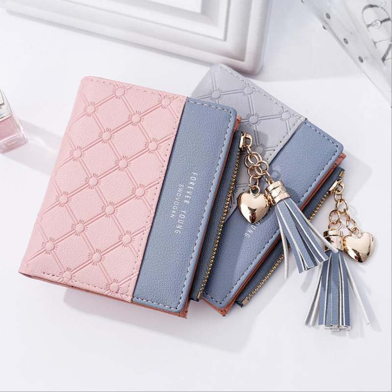 Women's Bags Womens Short Wallet New Korean Version Of The Color Square Simple Geometric Pattern Two Folding Student Zipper Bag