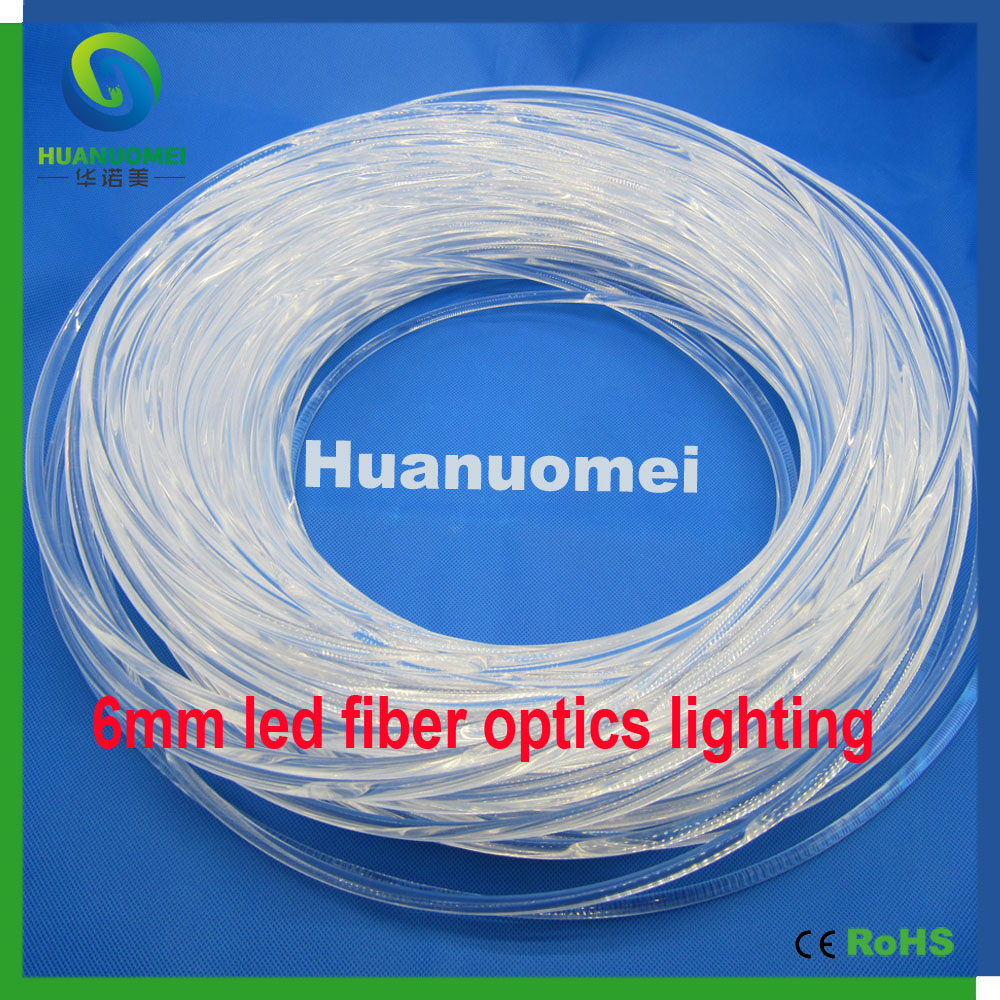 6mm Led Fiber Optics Lighting 6.0mm Diameter 100m/roll Pmma Fiber Optic Cable Led Fiber Light For Decoration Lighting Optic Fiber Lights