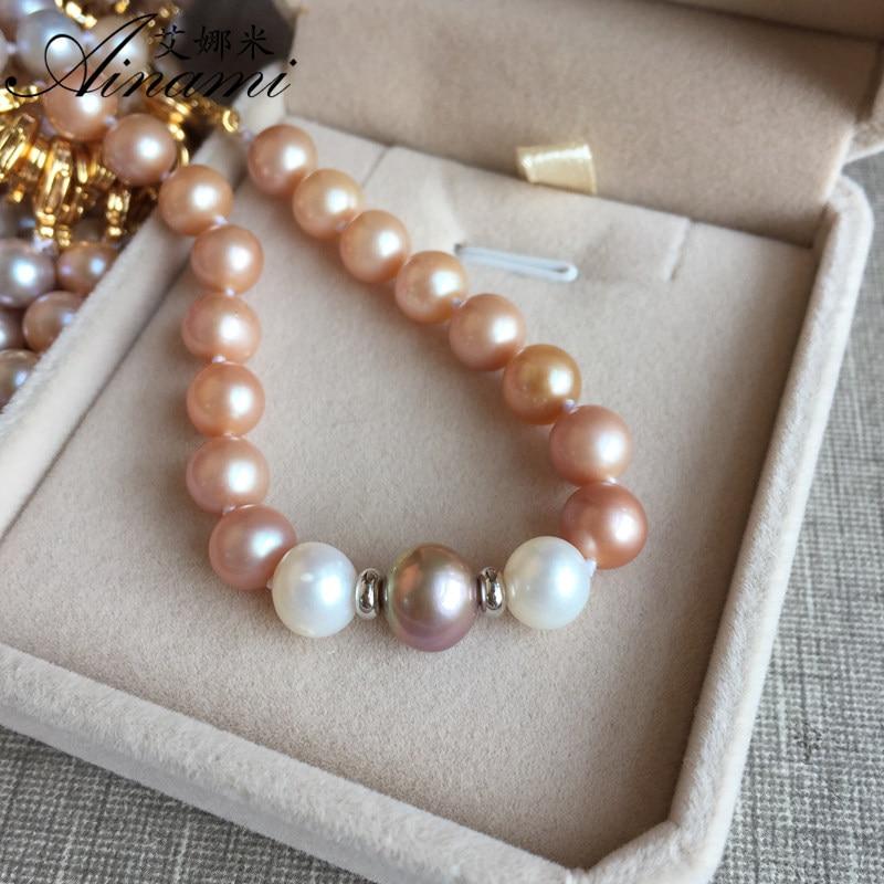 Lot de 4 Multi Couleur d/'Eau Douce Perle Bracelets 5 mm