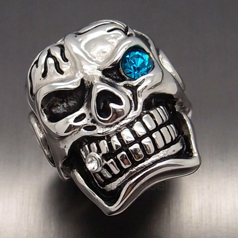 Mens Boy S Huge Silver Skull Blue Eye Cigar Cz 316l