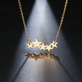 DOTIFI Stainless Steel Necklace For Women Lover's Gold/Rose Gold Color Pentacle Pentagram Pendant Necklace Engagement Jewelry 2
