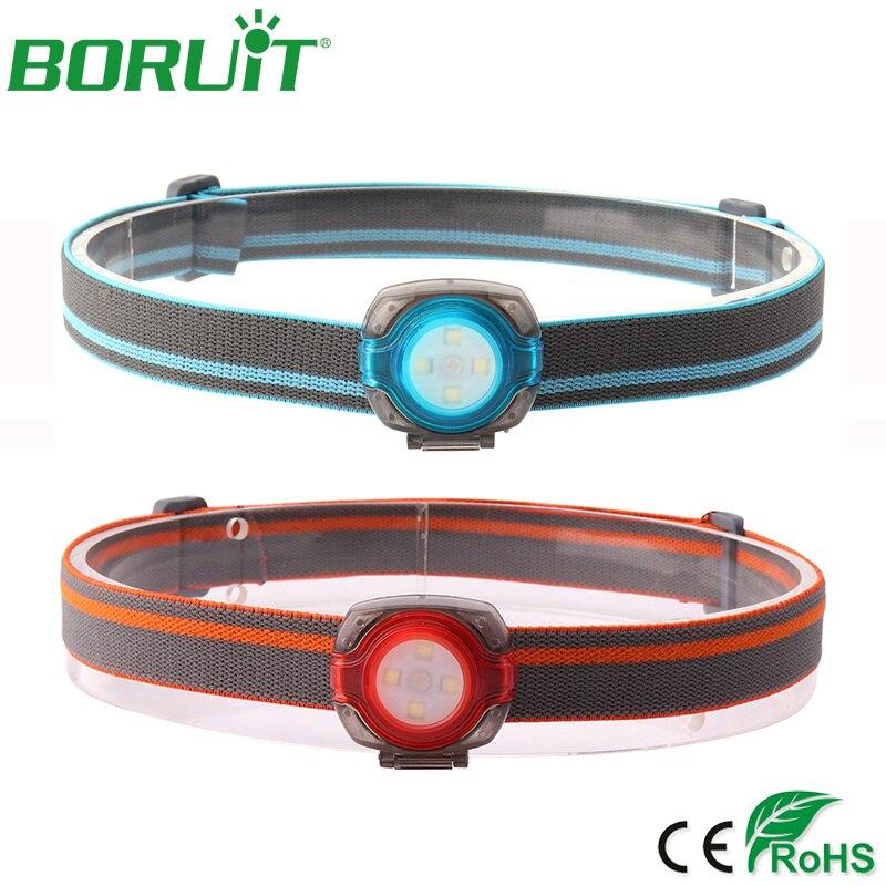 BORUiT Mini LED Headlamp Flashlight 3 Modes 100lm Headlights Portable Tactical Camping Hunting Head Torch Running Biking Light цена