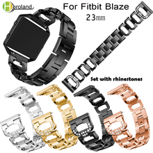 цена на 23mm Replacement Stainless Steel watch Band Strap For Fitbit Blaze Smart Watch Wrist Watch Accessories Black with Rhinestone new