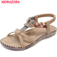 MORAZORA Two Colors Big Size 35 42 Summer Shoes Woman Rhinestone National Style Sandals Women Shoes