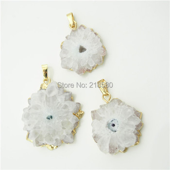 H-SP1658 Crystal Quartz Stalactite Slice Druzy Crystal Pendant with  Gold Electroplated Edges