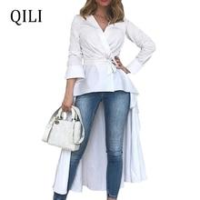 QILI Women White Shirt Dress Front Short Rear Long Bandage Dresses Summer Womens Casual Fashion Asymmetrical