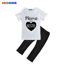 Summer Baby Girl Clothing Sets 2017 Brand Letter Mama Is My Bestie T Shirt+Pants 2pcs Girls Clothes Casual Boy Kids Clothing Set