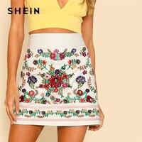 SHEIN Flower Embroidered Skirt 2018 Summer Floral Embroidery Above Knee Skirt Women White Tribal High Waist Print Skirt