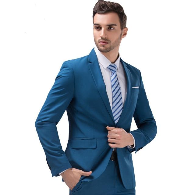 10 Color Men\'s Suits Two Piece Blazer Suit Slim Fit Business ...