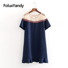 Casual Patchwork Lace Dress Women Mini Vestidos O-neck Plus Size XXXL 4XL Short Sleeve Summer Dress KKFY3333 2019 new summer dress denim vestidos women plus size xxxl 4xl casual o neck loose short sleeve jeans dress blue kkfy3556