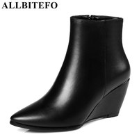 ALLBITEFO Full Genuine Leather Pointed Toe Wedges Heel Women Boots Fashion Brand High Heel Ankle Boots