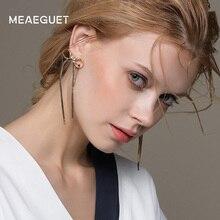 Meaeguet Classic Bowknot Bridal Long Drop Earrings Gold-color Butterfly Dangling Tassel Earrings Wedding Jewelry For Women