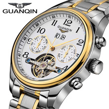 2016 Hombres de Los Relojes de Primeras Marcas de Lujo GUANQIN Reloj Mecánico negocio de La Moda de Zafiro sport casual Relojes de Pulsera relogio masculino