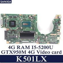KEFU K501LX Laptop motherboard for ASUS K501LX K501L K501 Test original mainboard 4G RAM I5-5200U GTX950M-4G