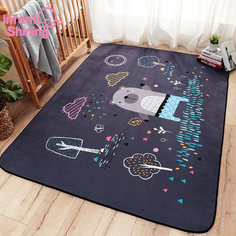 Bébé brillant bande dessinée bébé tapis de jeu épais daim salon tapis enfants enfants chambre tapis couverture écologique