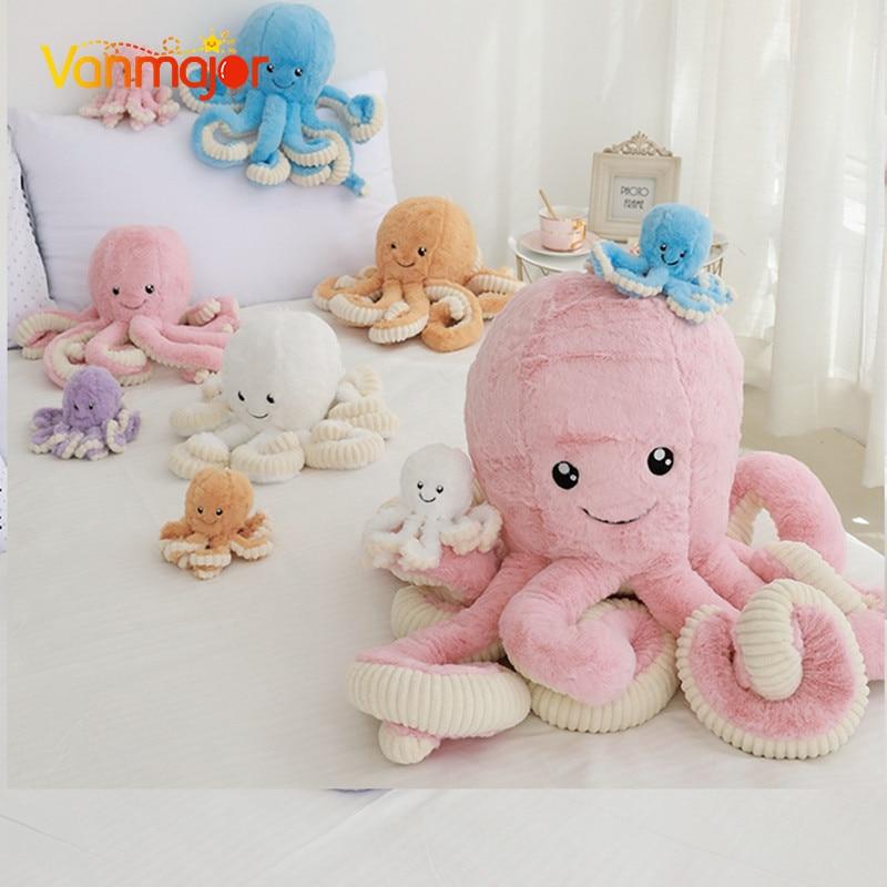 Vanmajor 18/40/60/80cm cheveux de lapin grande poupée pieuvre pieuvre jouets en peluche bébé tentacules souples