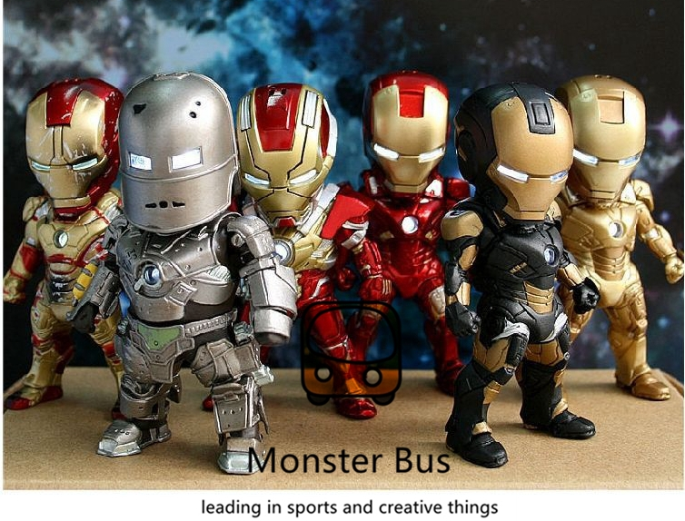 The Avengers Super Hero Marvel Iron Man 3 MK 6/3 MK 42 10 cm PVC Action Figures Collection Model Toys LED Flash Light Dolls 2017 new avengers super hero iron man hulk toys with led light pvc action figure model toys kids halloween gift