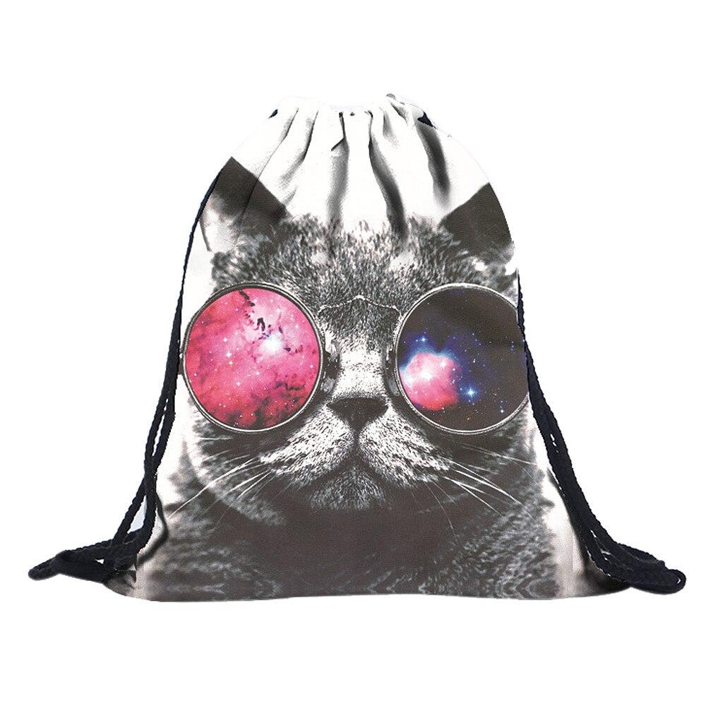 drawstring bag large Unisex Emoji Backpacks 3D cool cat Printing Bags Drawstring Backpack hot slae