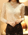 Free Shipping High Quality Fashion Plus Size New Arrival Korean Thicken Stand Collar Beads Decorated Long Sleeve Lace Blouse