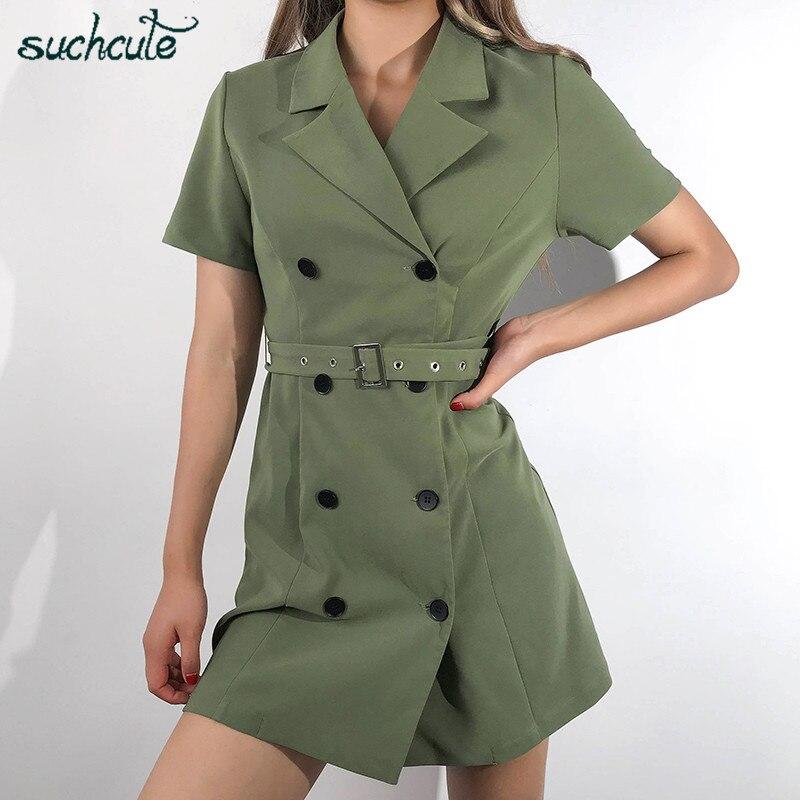 SUCHCUTE Blazer Tshirt Dress For Women Button Belt Summer 2019 Ladies Dresses Elegant Female Holiday Party Bohemian Sukienki