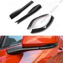 4Pcs Carbon Fiber Grain ABS Car Rearview Mirror Pedestal Trim Decoration Strip Sticker Frame Cover For Ford Mustang 2015-2017