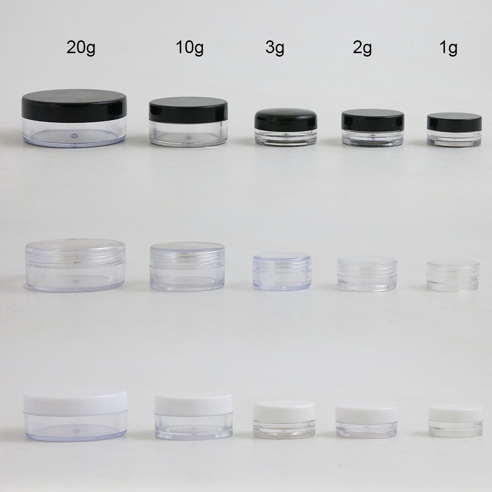 50 X 1g 2g  3g  10g  20g High Quality Empty Transparent PS Cream Jar With Three Plastic Cap Cosmetic Make Up Containers