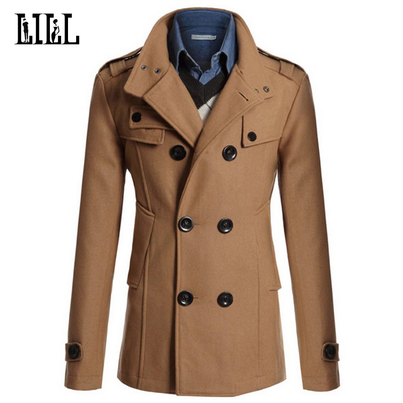 4XL Mens Casual Double Breasted Wool Coat Men Military Style ...